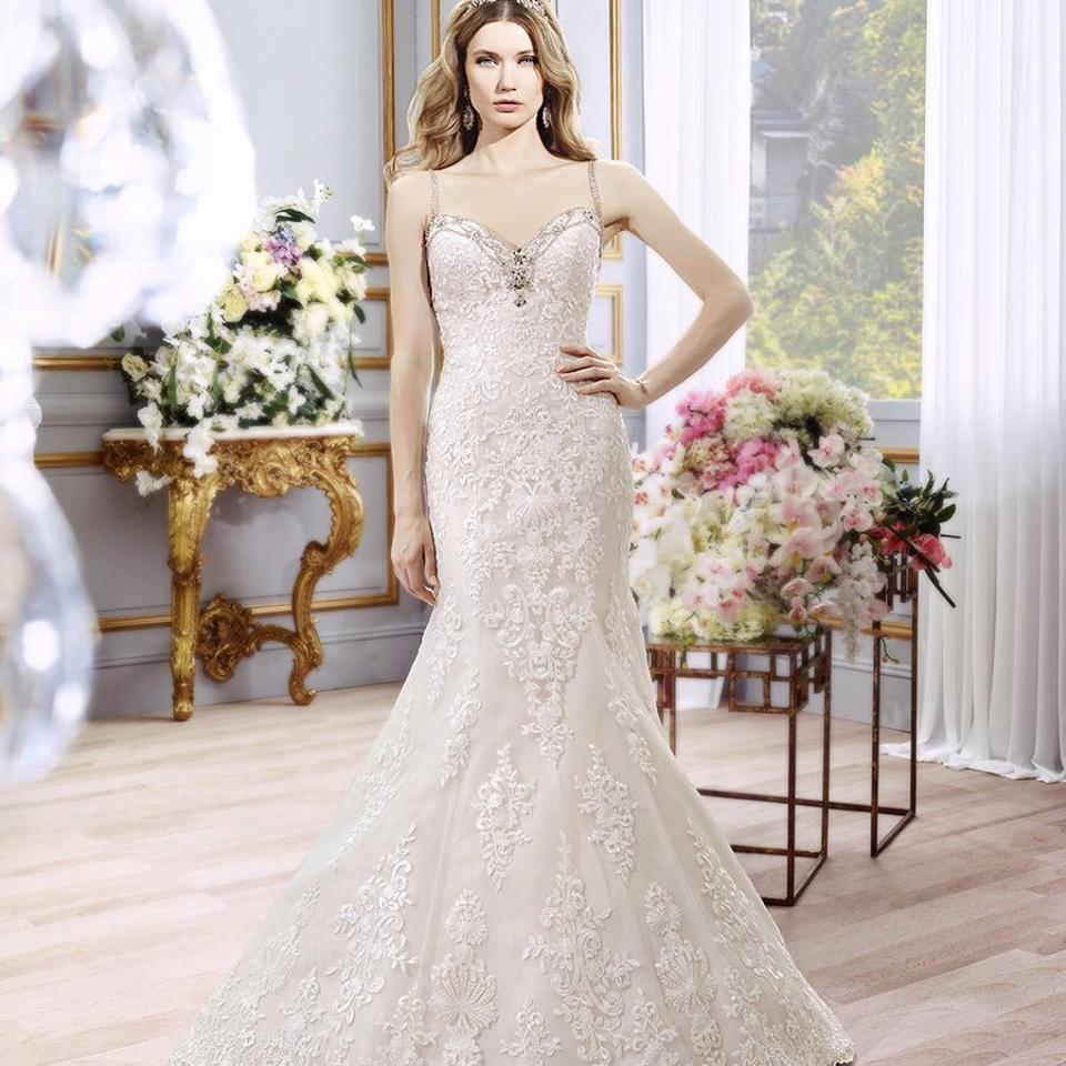 Moonlight Bridal Ivory Lace/Taupe Lining/ Silver Beadwork H1292 Modern Wedding Dress Size 12 (L)