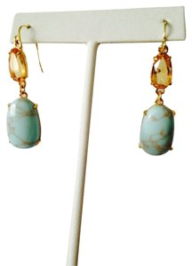Ralph Lauren Turquoise & Faceted Citrine Gemstone Dangle Earrings