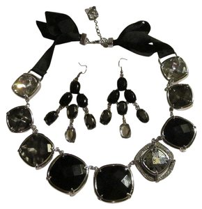 Vera Wang Grey Obmbre chunky crystal necklace earring set