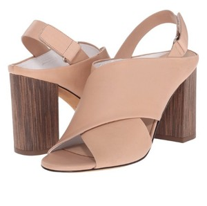 Vince Women's Leather Chinky Heel Slingback Mules Nude Sandals