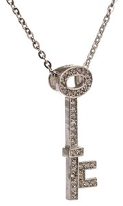Other Designer 585 KT White Gold 0.35 CT Diamond Key Pendant Necklace
