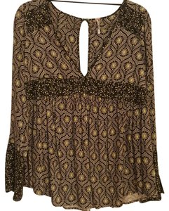 Free People Top Black, floral and patterned