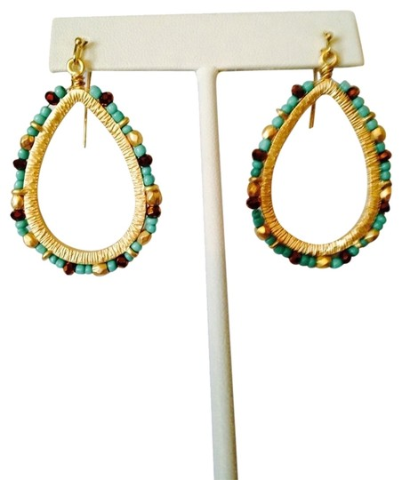 Ralph Lauren Gold Large Seed Bead Turquoise Dangle Earrings