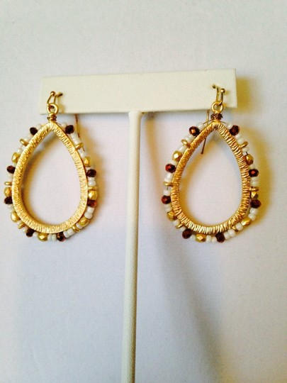 Lauren Ralph Lauren White Large Seed Bead & Gold Teardrop Dangle Earrings