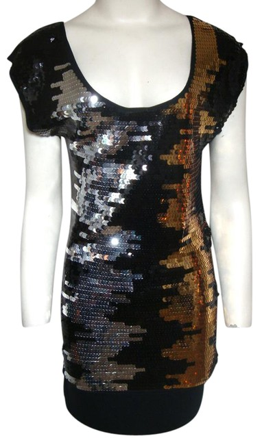 Item - Black Gold Silver Sequin Mini Short Night Out Dress Size 4 (S)
