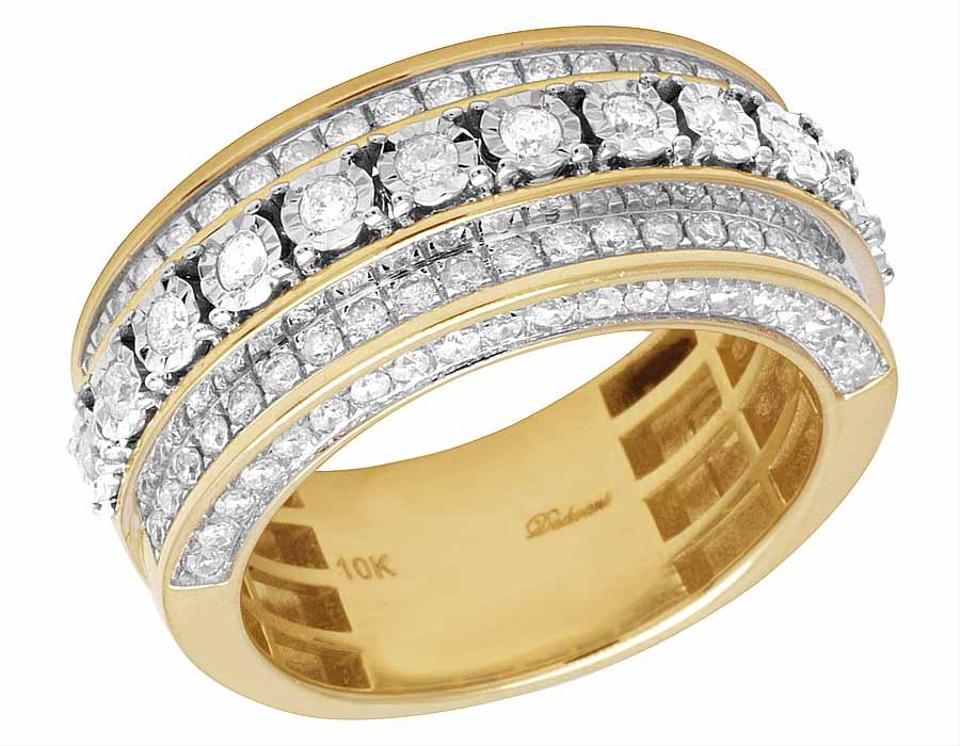 10k Yellow Gold Real Diamond Men S 3d Wedding Band 1 3 4 Ct 10mm