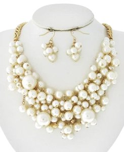 Other Cream Synthetic Pearl Necklace & Earring Set