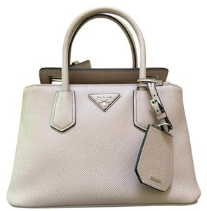 Prada Leather Flap Enclosrues Sturdy Details Tote in camero