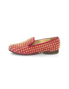 Christian Louboutin Suede Loafers Studs coral Flats