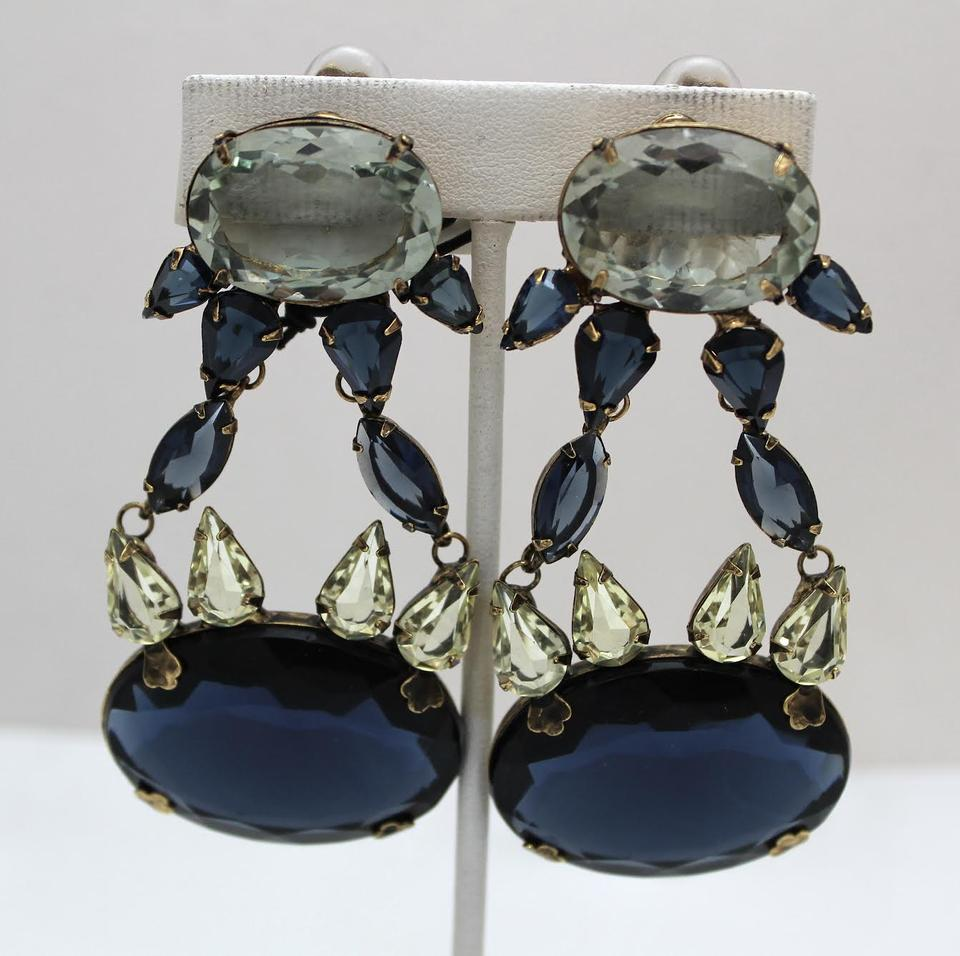 glass overlay products blue plated hydro earrings gold