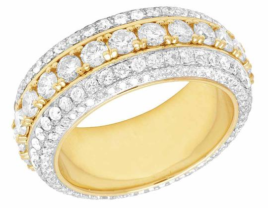 Jewelry Unlimited 10K Yellow Gold Real Diamond Eternity Wedding Band Ring 5 1/2 CT 10MM Image 1