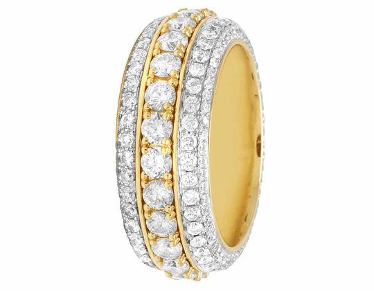 Jewelry Unlimited 10K Yellow Gold Real Diamond Eternity Wedding Band Ring 5 1/2 CT 10MM Image 2