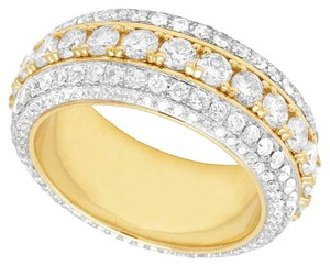 Jewelry Unlimited 10K Yellow Gold Real Diamond Eternity Wedding Band Ring 5 1/2 CT 10MM