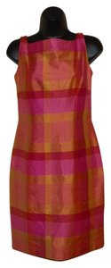 Maggy London short dress Pink, yellow, orange and red Sheath Zipper Slit on Tradesy