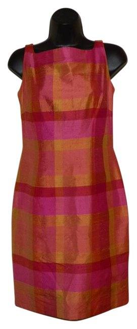 Item - Pink Yellow Orange and Red Multi Color Sheath Short Casual Dress Size 4 (S)