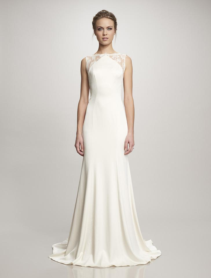 Theia Ivory Crepe Back Satin and French Chantilly Lace Taylor Formal ...