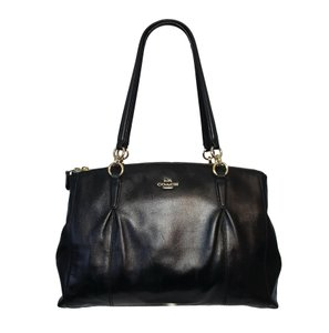 Coach Smooth Leather Gold Hardware Large Satchel in Black