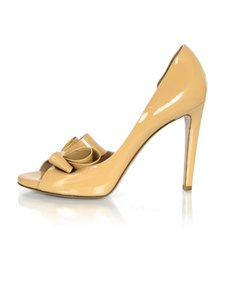 Valentino Patent Leather Bow Open Toe D'orsay nude Pumps