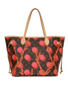 Louis Vuitton Neverfull Monogram Coral Limited Edition Tote in brown