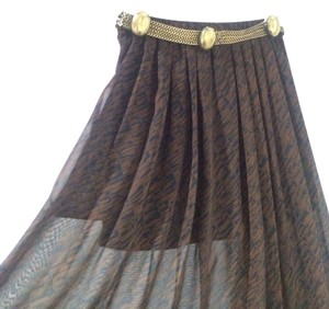 Bar III Sheer Festival Maxi Skirt Brown and black