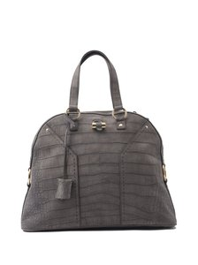 Saint Laurent Ysl Suede Crocodile Muse Tote in Grey