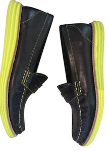 Cole Haan Summer Leather Comfortable navy blue/lime green Flats