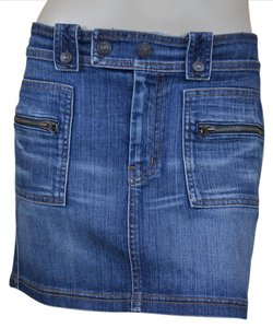 7 For All Mankind 7fam Denim Cotton Mini Skirt Blue