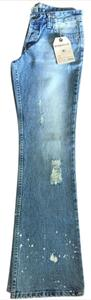 Hydraulic Acid Wash Distressed Casual Vintage Boyfriend Relaxed Fit Jeans-Acid