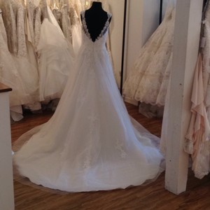 Mori Lee Ivory Lace 5468 Formal Wedding Dress Size 8 (M)