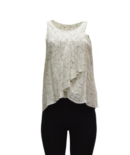 DREW Pleated Front Top Ivory Black Image 1