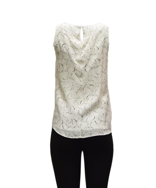 DREW Pleated Front Top Ivory Black Image 3