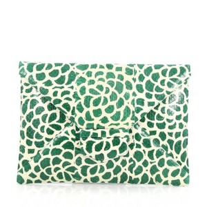 Oscar de la Renta Snakeskin Green and Off-white Clutch