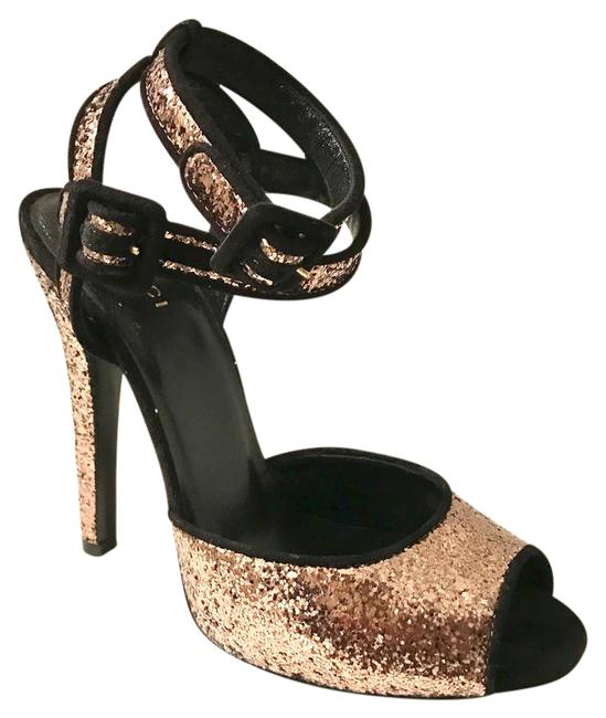 Item - Rose Gold Glitter Double Ankle Straps Formal Shoes Size US 7.5 Regular (M, B)