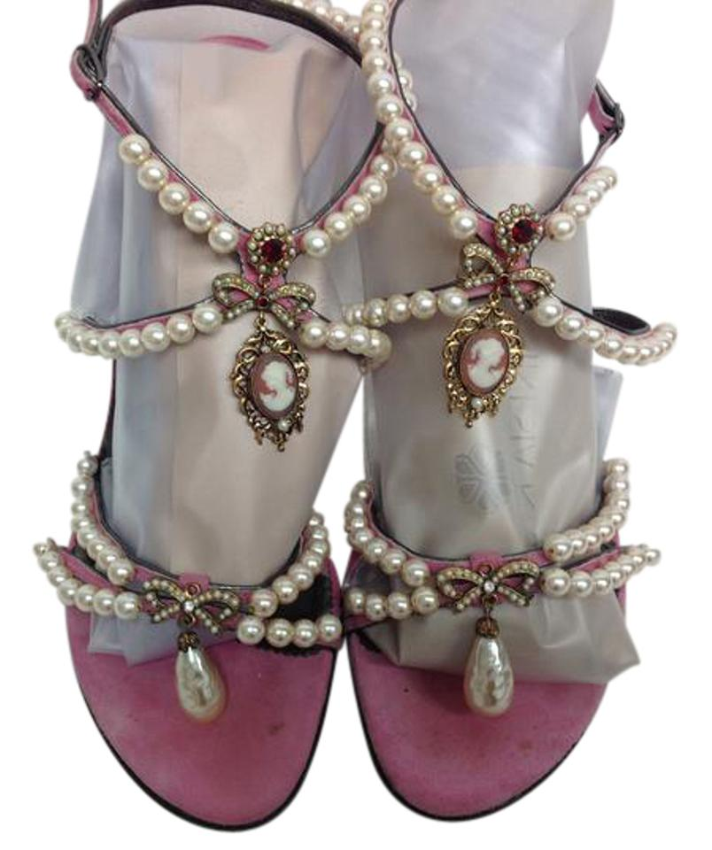 Dolce&Gabbana with Pink Suede and Pearl with Dolce&Gabbana Cameos Sandals edbdb3