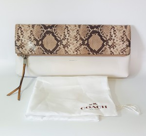 Coach Very Rare Foldable Snake Python Large White Clutch