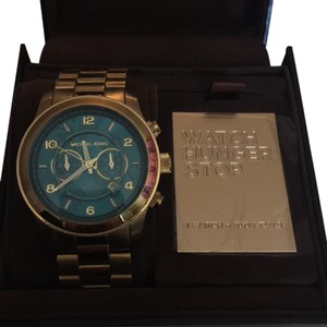 Michael Kors Watch Hunger Stop Runway Gold Tone Stainless Steel Watch