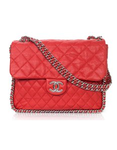 Chanel Quilted Red Flap Chain Maxi Shoulder Bag