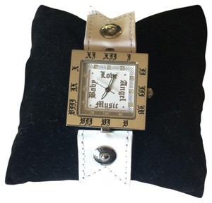 L.A.M.B. L.A.M.B. White Leather Square Watch