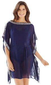 Chico's Chico's Beaded embellished swimsuit cover up tunic Navy
