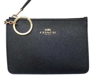 Coach NEW COACH Leather card Case holder Key chain coins pouch black