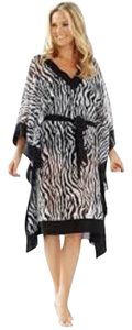 Chico's Chico's Animal Print Striped Caftan Swimsuit Cover up tunic