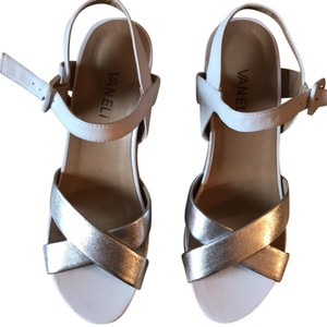Vaneli white and silver Wedges