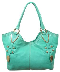 orYANY Leather Studded Satchel in green