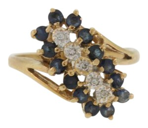 Other Vintage Stacked Sapphire And Diamond Ring- 14k Yellow Gold