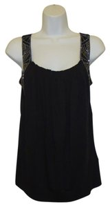 Madewell New Tag Modal Cotton Crystal Accent Hi-line Top Black