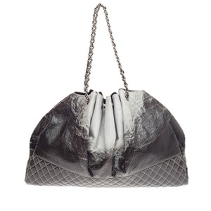 Chanel Patent Tote in distressed ombre light gray
