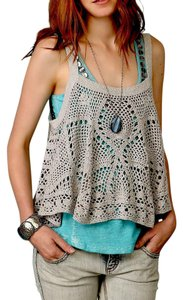 Free People Fp Swingy Eyelet Loose Carefree Crochet Bohemian Festival Top Gray