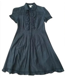 Kensie short dress black Silk Lace Ruffle Button Up on Tradesy