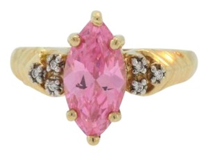 Other Vintage Pink Topaz And Diamond Solitaire Ring- 10k Yellow Gold