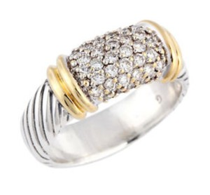 David Yurman David Yurman Diamond Cable 18KYG Sterling Silver Band Ring